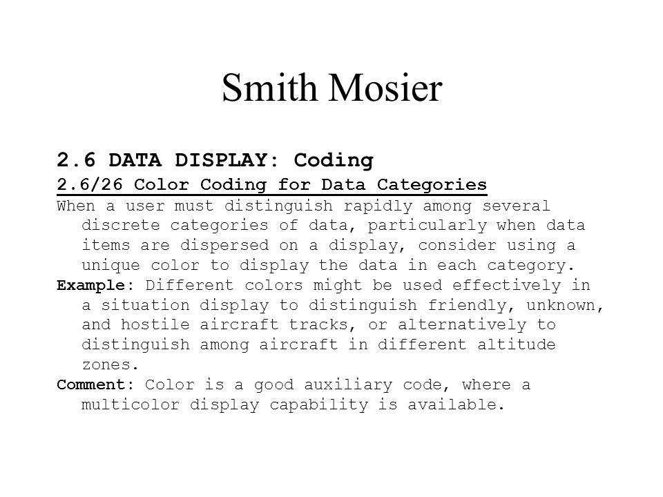 Smith Mosier 2.6 DATA DISPLAY: Coding