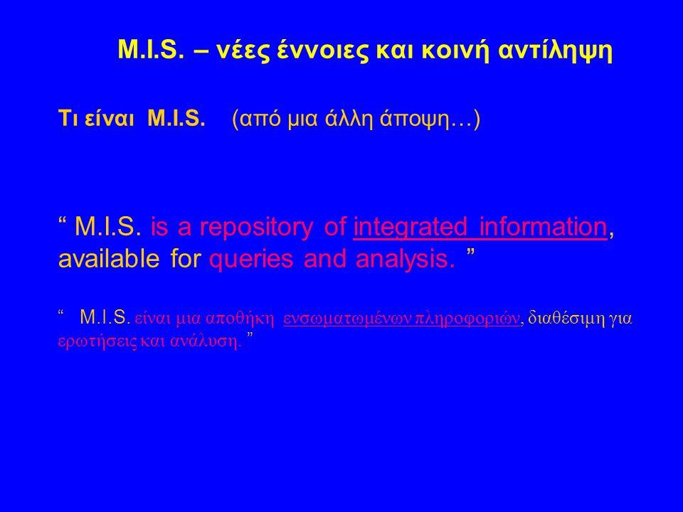 M.I.S. – νέες έννοιες και κοινή αντίληψη