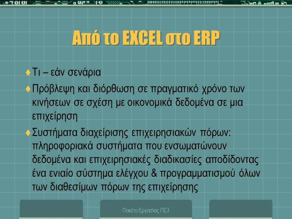 Από το EXCEL στο ERP Τι – εάν σενάρια