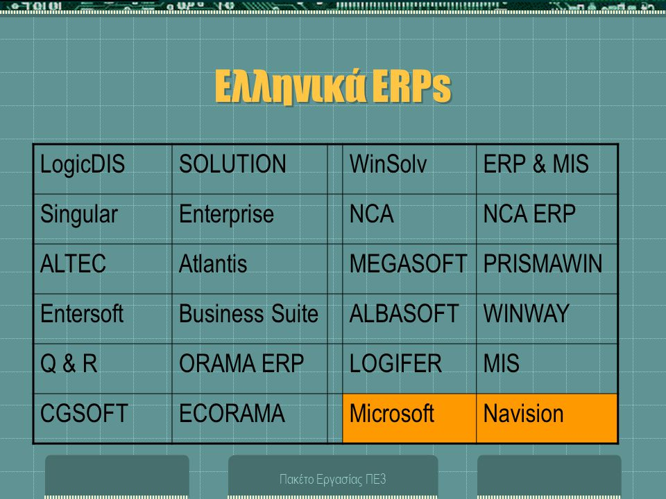 Ελληνικά ERPs LogicDIS SOLUTION WinSolv ERP & MIS Singular Enterprise