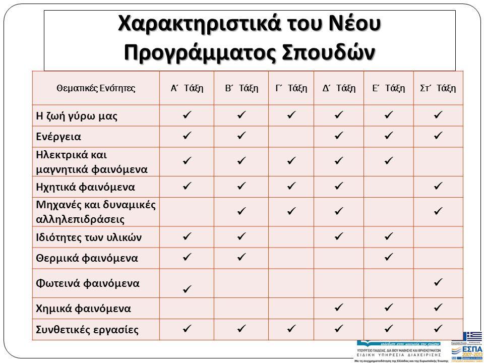Χαρακτηριστικά του Νέου Προγράμματος Σπουδών