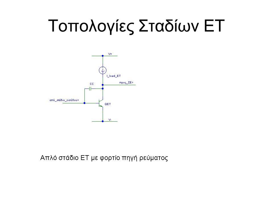 Τοπολογίες Σταδίων ΕΤ Απλό στάδιο ΕΤ με φορτίο πηγή ρεύματος