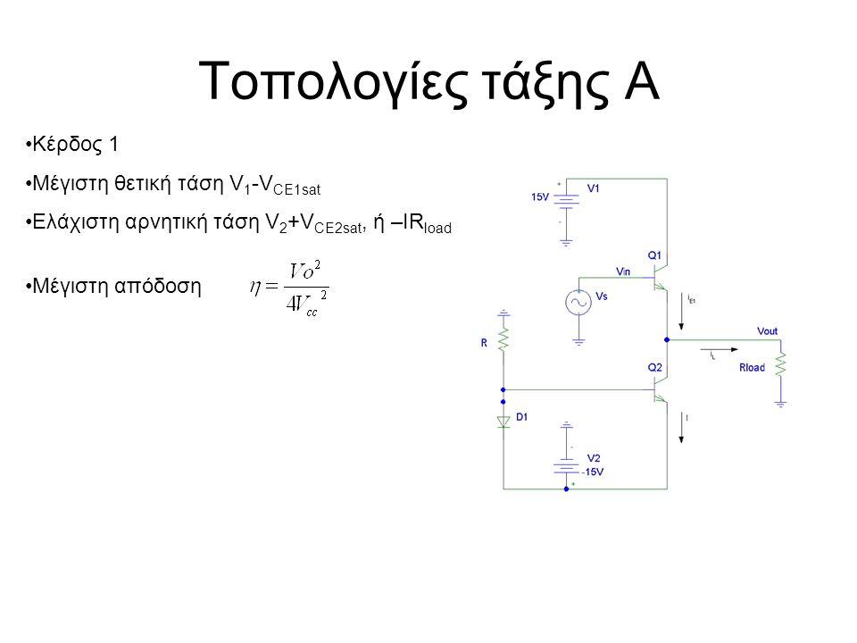 Τοπολογίες τάξης Α Κέρδος 1 Μέγιστη θετική τάση V1-VCE1sat