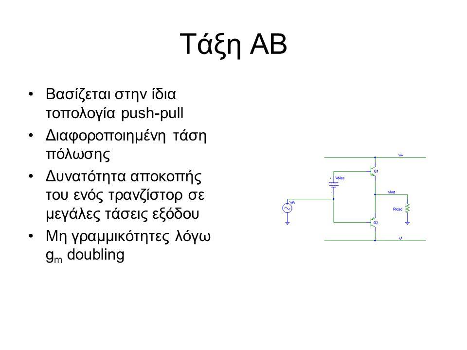 Τάξη ΑΒ Βασίζεται στην ίδια τοπολογία push-pull