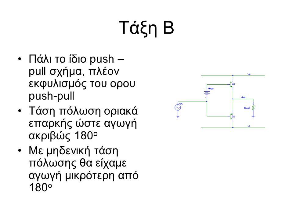 Τάξη Β Πάλι το ίδιο push –pull σχήμα, πλέον εκφυλισμός του ορου push-pull. Τάση πόλωση οριακά επαρκής ώστε αγωγή ακριβώς 180ο.
