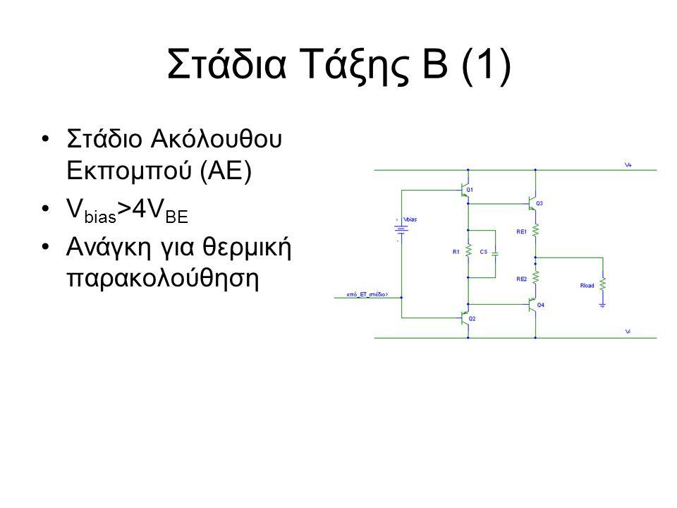Στάδια Τάξης Β (1) Στάδιο Ακόλουθου Εκπομπού (ΑΕ) Vbias>4VBE