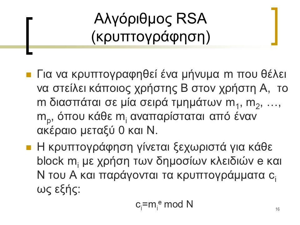 Αλγόριθμος RSA (κρυπτογράφηση)