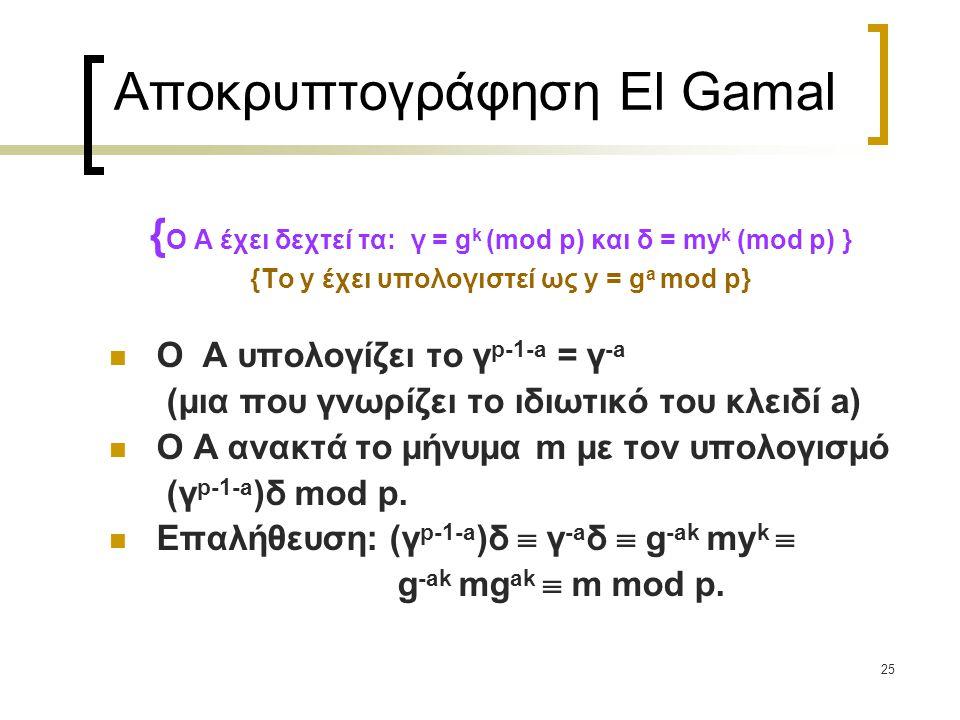 Αποκρυπτογράφηση El Gamal