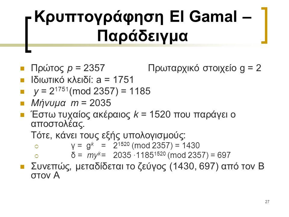 Κρυπτογράφηση El Gamal – Παράδειγμα