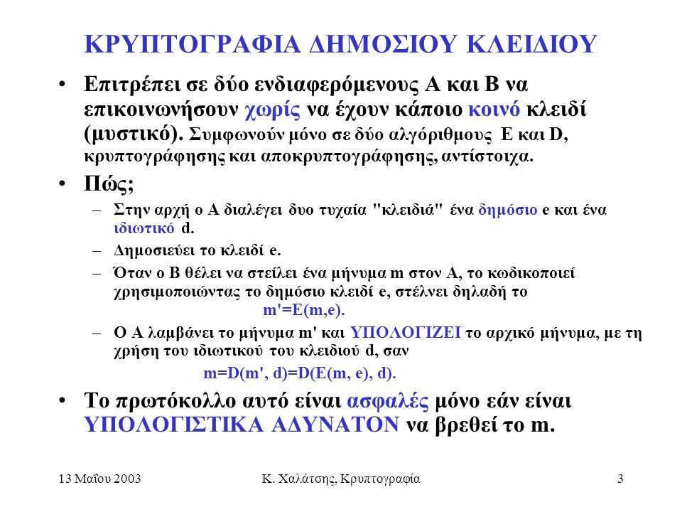 ΚΡΥΠΤΟΓΡΑΦΙΑ ΔΗΜΟΣΙΟΥ ΚΛΕΙΔΙΟΥ