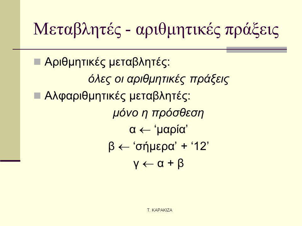 Μεταβλητές - αριθμητικές πράξεις