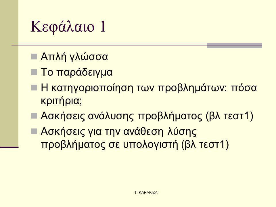 Κεφάλαιο 1 Απλή γλώσσα Το παράδειγμα