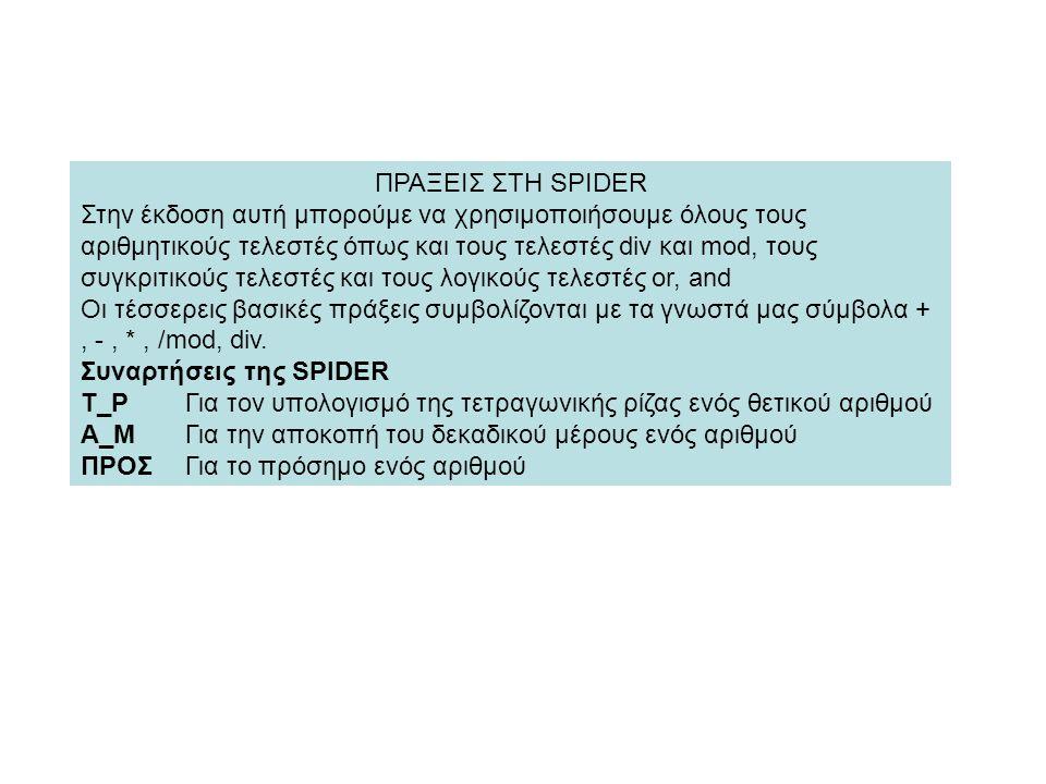 ΠΡΑΞΕΙΣ ΣΤΗ SPIDER