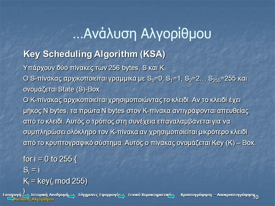 …Ανάλυση Αλγορίθμου Key Scheduling Algorithm (KSA) for i = 0 to 255 {