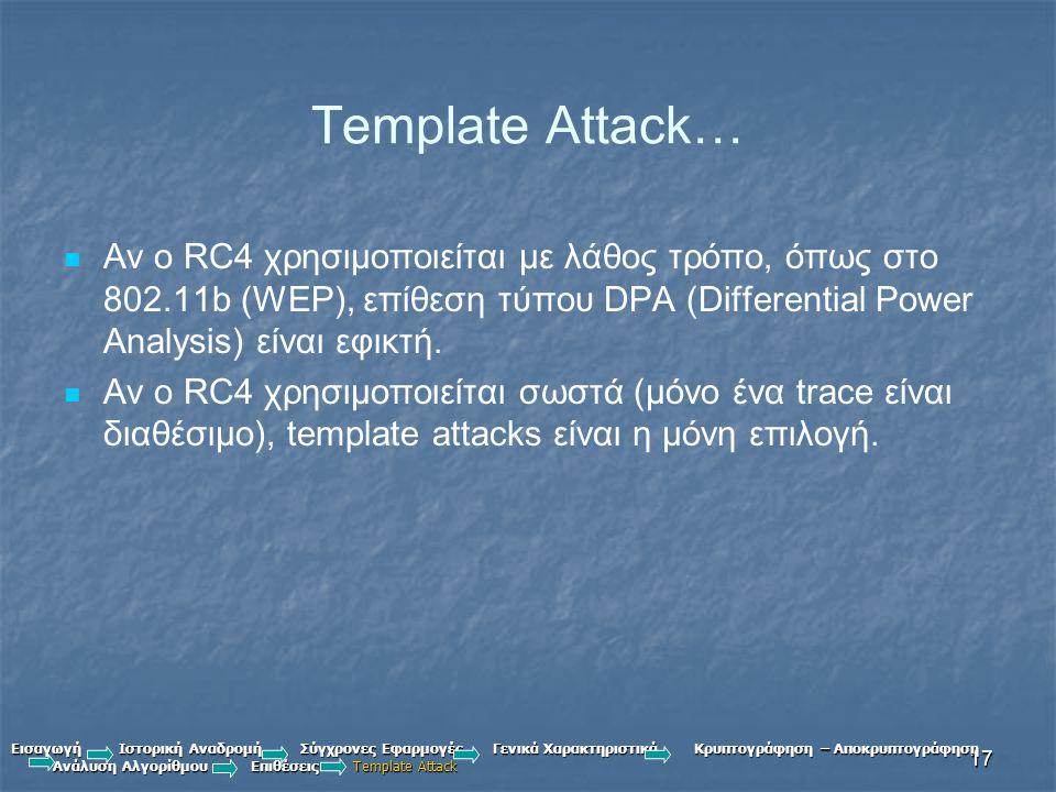 Template Attack… Αν ο RC4 χρησιμοποιείται με λάθος τρόπο, όπως στο 802.11b (WEP), επίθεση τύπου DPA (Differential Power Analysis) είναι εφικτή.