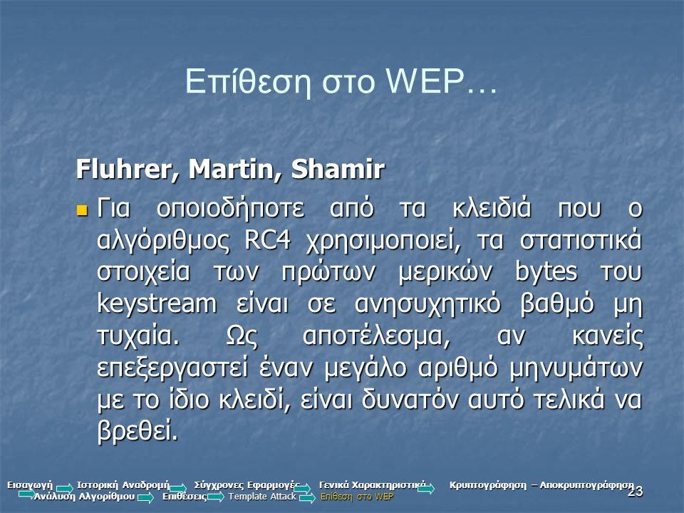 Επίθεση στο WEP… Fluhrer, Martin, Shamir