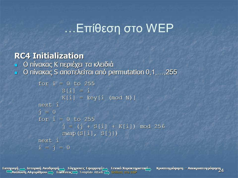 …Επίθεση στο WEP RC4 Initialization Ο πίνακας Κ περιέχει τα κλειδιά