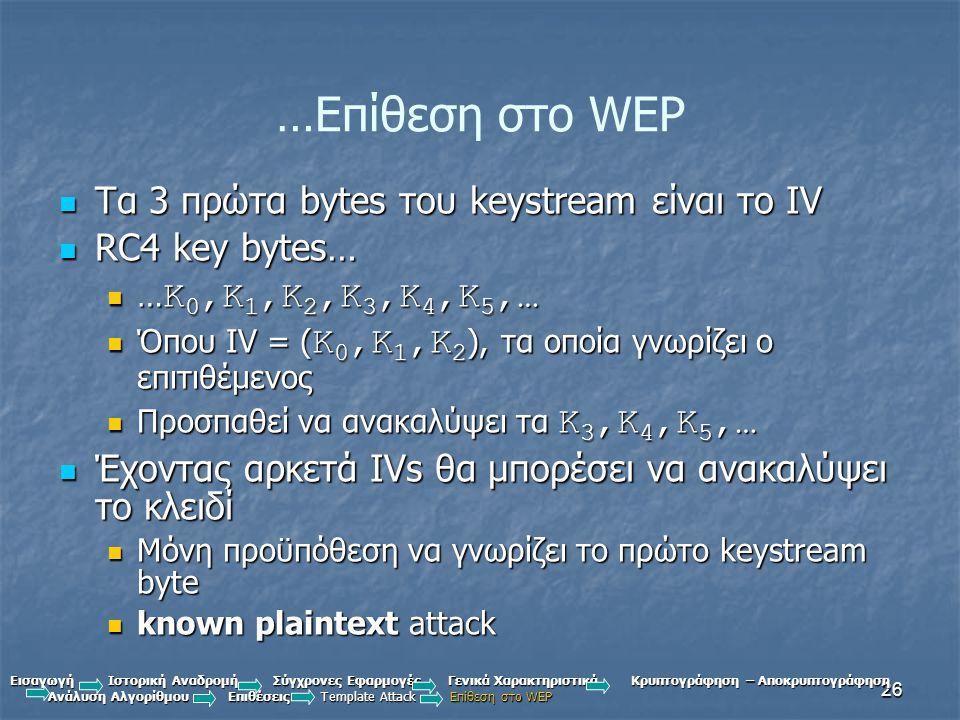 …Επίθεση στο WEP Τα 3 πρώτα bytes του keystream είναι το IV