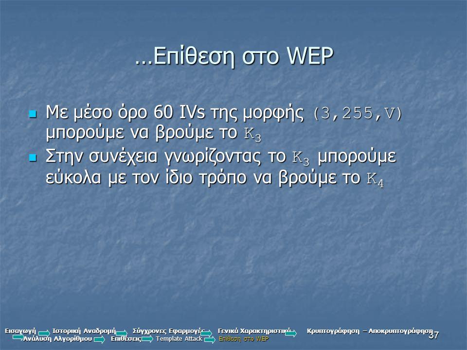 …Επίθεση στο WEP Με μέσο όρο 60 IVs της μορφής (3,255,V) μπορούμε να βρούμε το K3.
