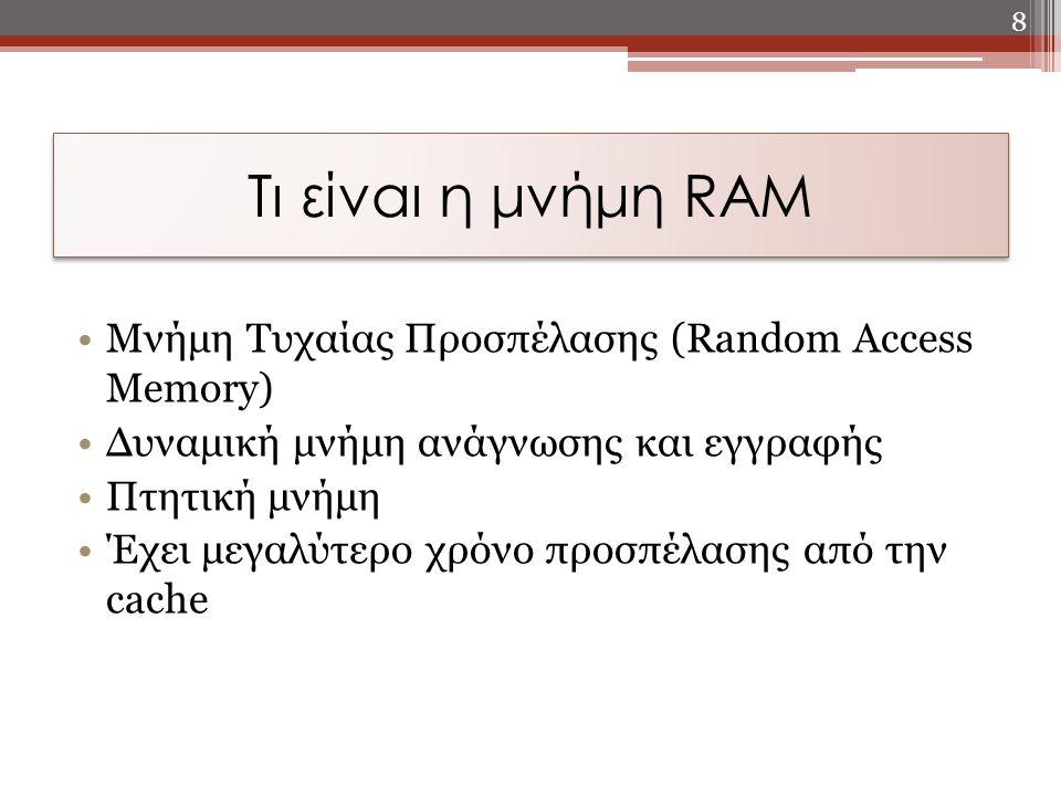 Τι είναι η μνήμη RAM Μνήμη Τυχαίας Προσπέλασης (Random Access Memory)