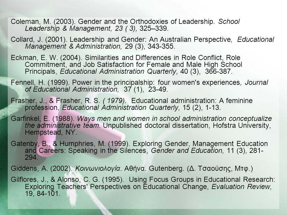 Coleman, M. (2003). Gender and the Orthodoxies of Leadership
