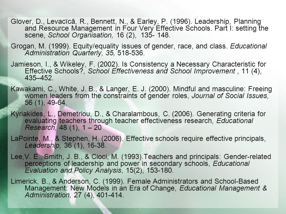 Glover, D. , Levacïcâ, R. , Bennett, N. , & Earley, P. (1996)