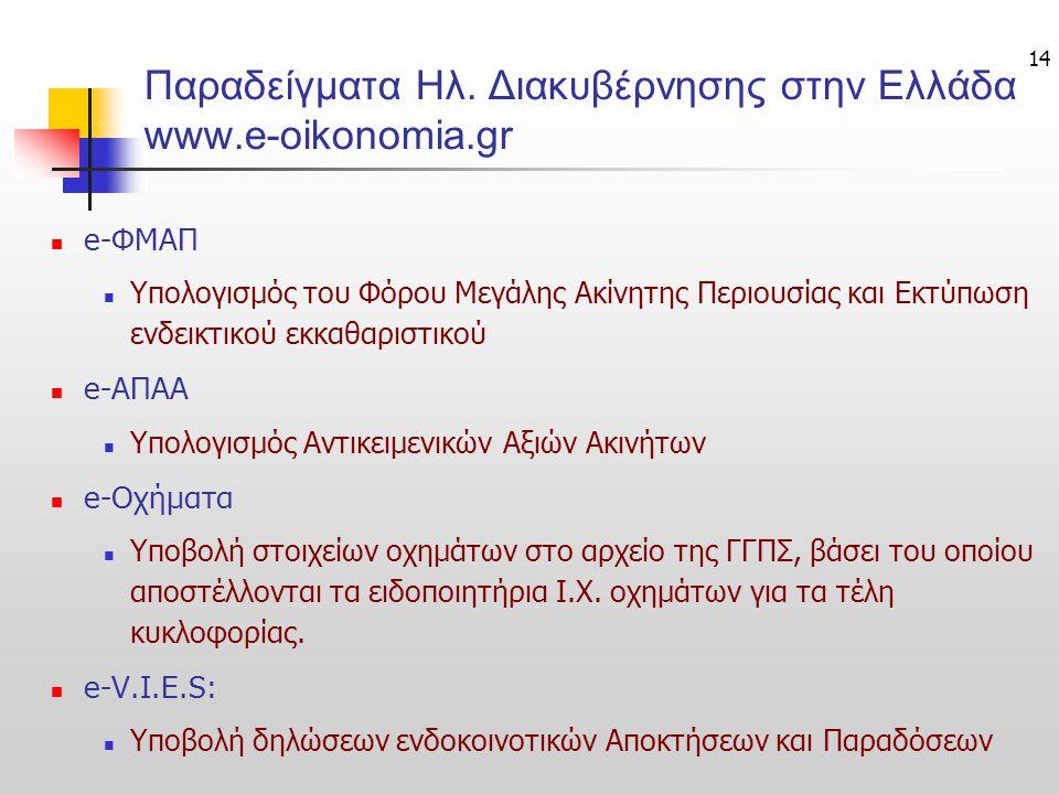 Παραδείγματα Ηλ. Διακυβέρνησης στην Ελλάδα www.e-oikonomia.gr