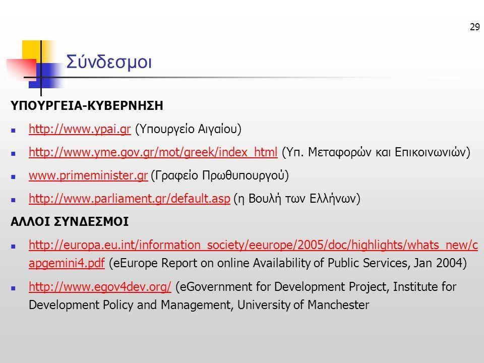 Σύνδεσμοι ΥΠΟΥΡΓΕΙΑ-ΚΥΒΕΡΝΗΣΗ http://www.ypai.gr (Υπουργείο Αιγαίου)