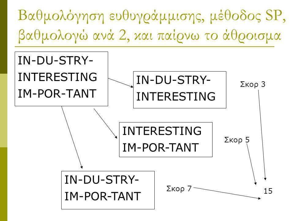 Βαθμολόγηση ευθυγράμμισης, μέθοδος SP, βαθμολογώ ανά 2, και παίρνω το άθροισμα
