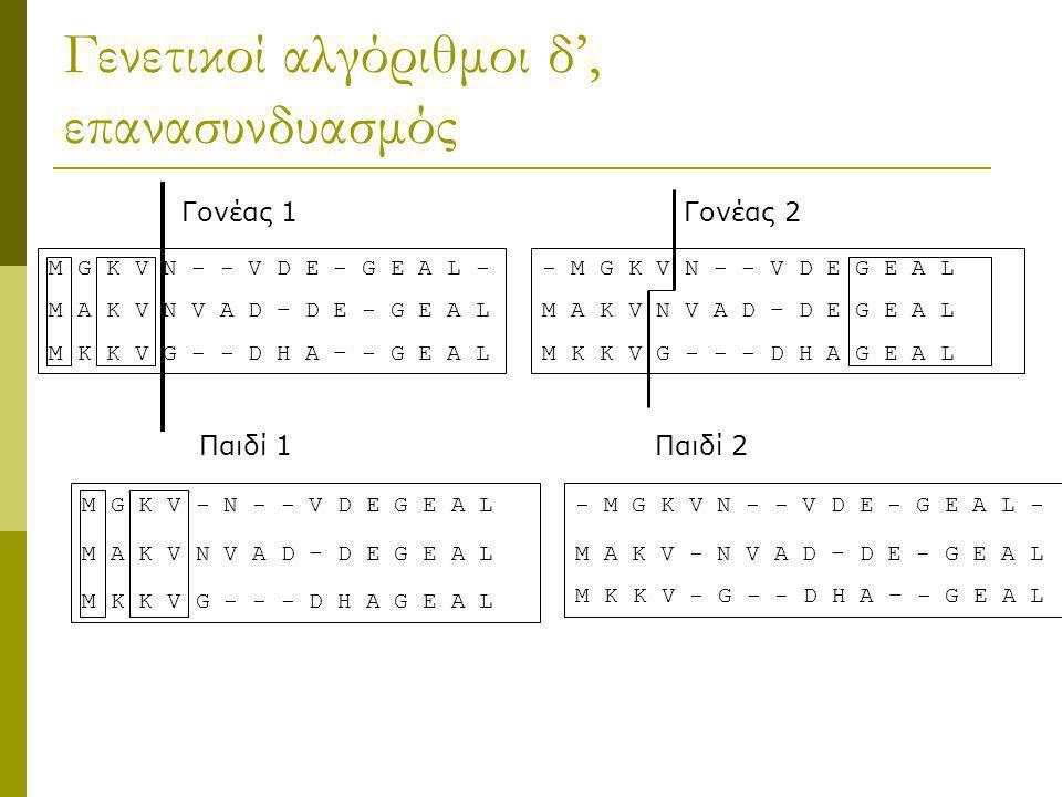 Γενετικοί αλγόριθμοι δ', επανασυνδυασμός