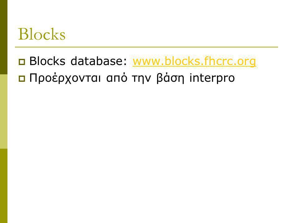 Blocks Blocks database: www.blocks.fhcrc.org