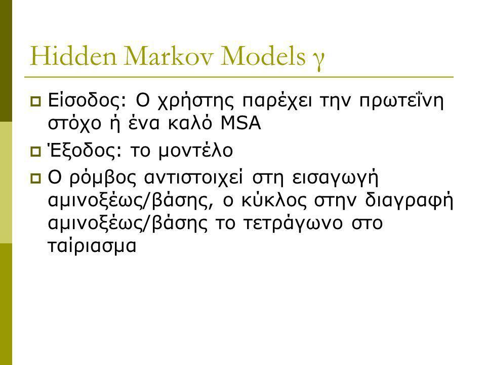 Hidden Markov Models γ Είσοδος: Ο χρήστης παρέχει την πρωτεΐνη στόχο ή ένα καλό MSA. Έξοδος: το μοντέλο.