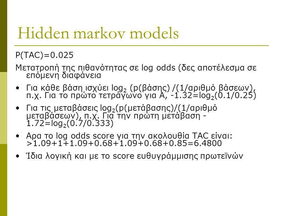 Ηidden markov models P(TAC)=0.025