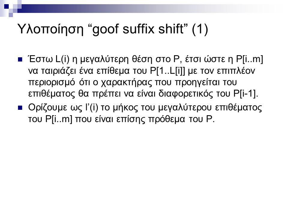 Υλοποίηση goof suffix shift (1)