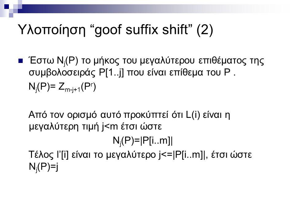 Υλοποίηση goof suffix shift (2)