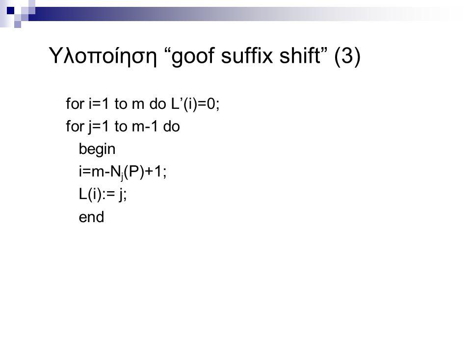 Υλοποίηση goof suffix shift (3)