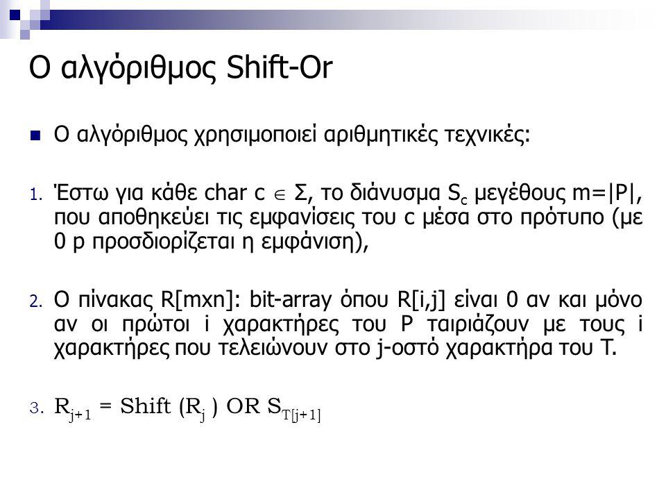Ο αλγόριθμος Shift-Or O αλγόριθμος χρησιμοποιεί αριθμητικές τεχνικές: