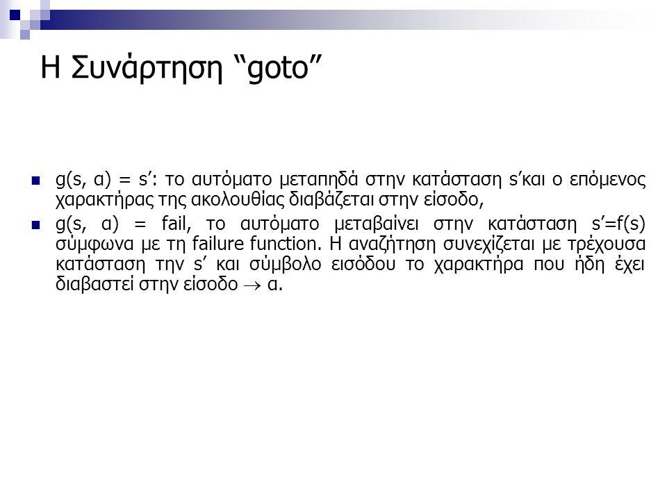 Η Συνάρτηση goto g(s, α) = s': το αυτόματο μεταπηδά στην κατάσταση s'και ο επόμενος χαρακτήρας της ακολουθίας διαβάζεται στην είσοδο,