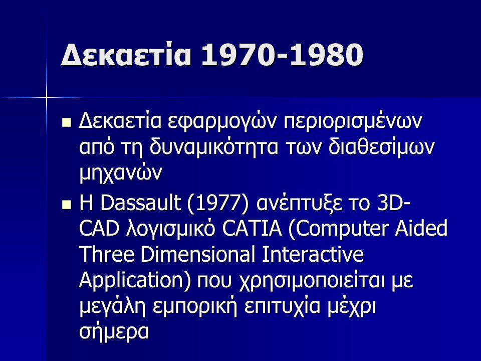 Δεκαετία 1970-1980 Δεκαετία εφαρμογών περιορισμένων από τη δυναμικότητα των διαθεσίμων μηχανών.