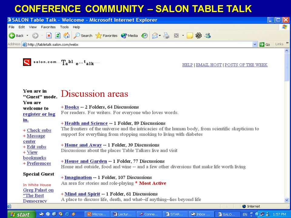 CONFERENCE COMMUNITY – SALON TABLE TALK