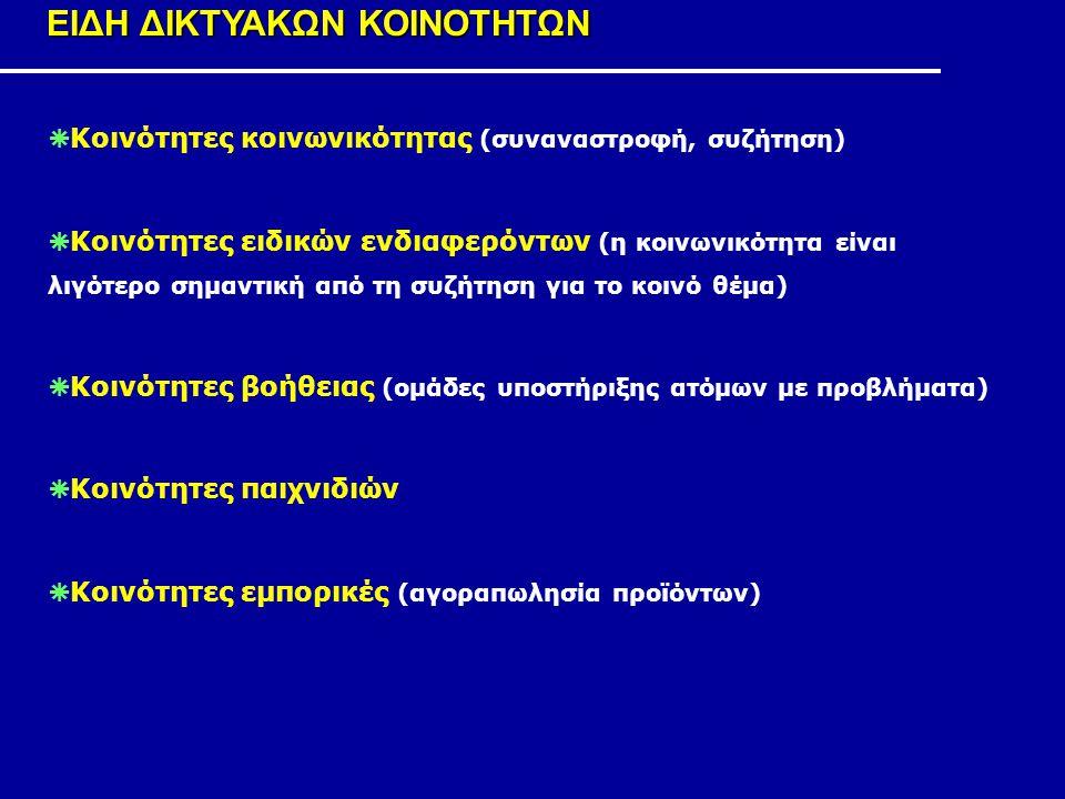 ΕΙΔΗ ΔΙΚΤΥΑΚΩΝ ΚΟΙΝΟΤΗΤΩΝ