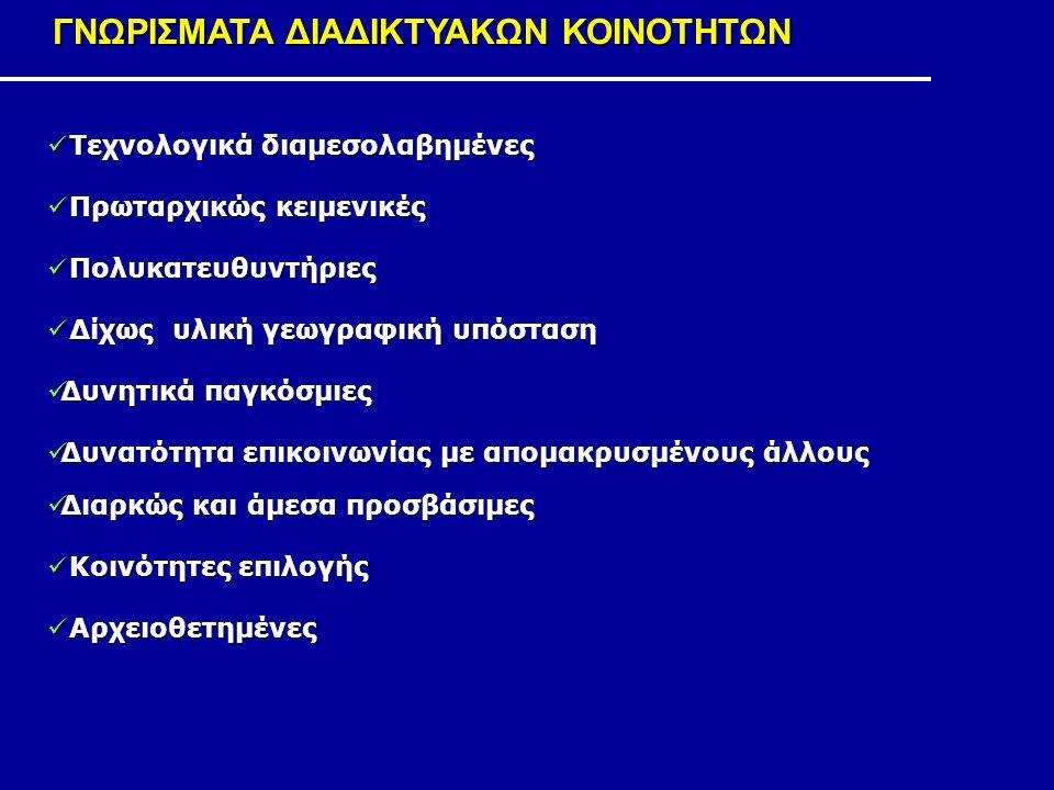 ΓΝΩΡΙΣΜΑΤΑ ΔΙΑΔΙΚΤΥΑΚΩΝ ΚΟΙΝΟΤΗΤΩΝ