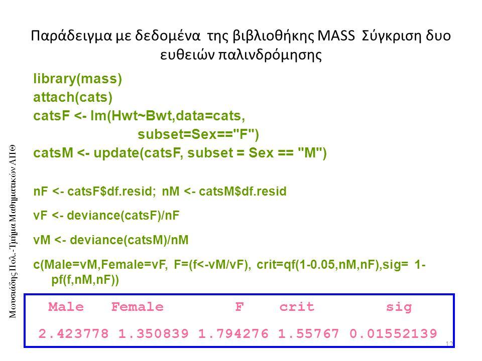 5/4/2017 Παράδειγμα με δεδομένα της βιβλιοθήκης MASS Σύγκριση δυο ευθειών παλινδρόμησης. library(mass)