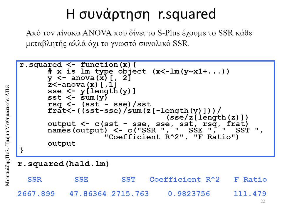 5/4/2017 Η συνάρτηση r.squared. Από τον πίνακα ANOVA που δίνει το S-Plus έχουμε το SSR κάθε μεταβλητής αλλά όχι το γνωστό συνολικό SSR.