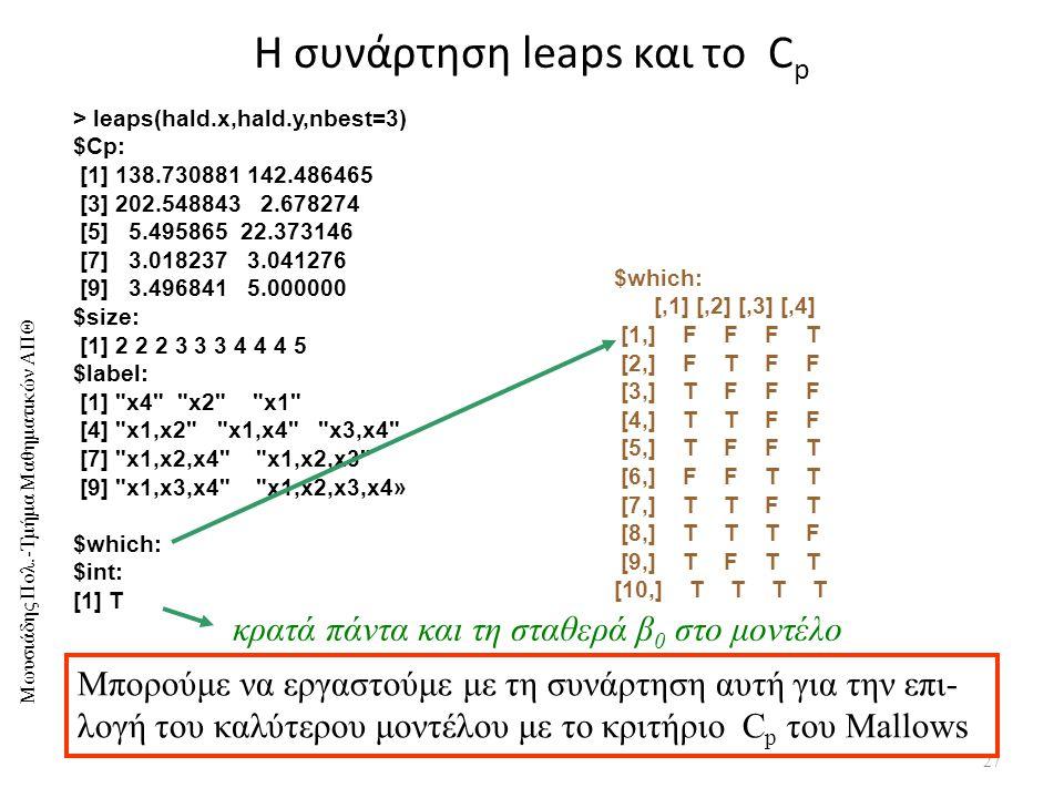 Η συνάρτηση leaps και το Cp