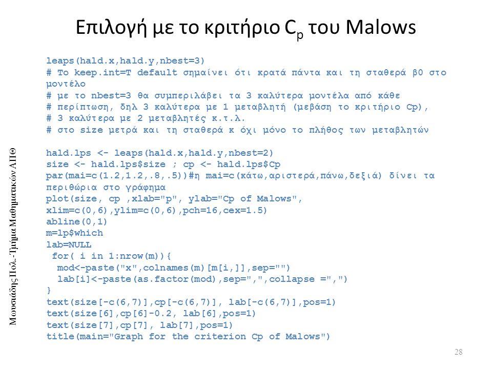 Επιλογή με το κριτήριο Cp του Malows