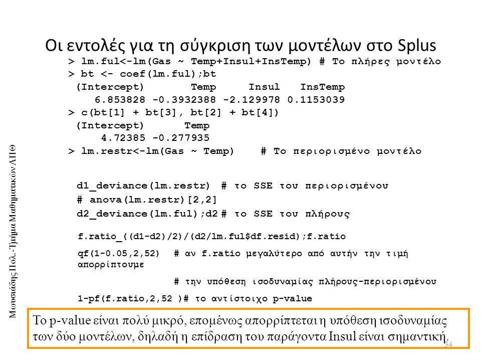 Οι εντολές για τη σύγκριση των μοντέλων στο Splus