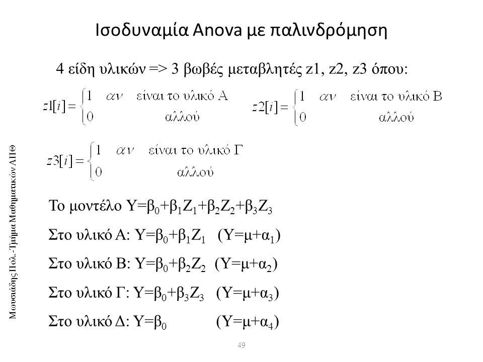 Ισοδυναμία Anova με παλινδρόμηση