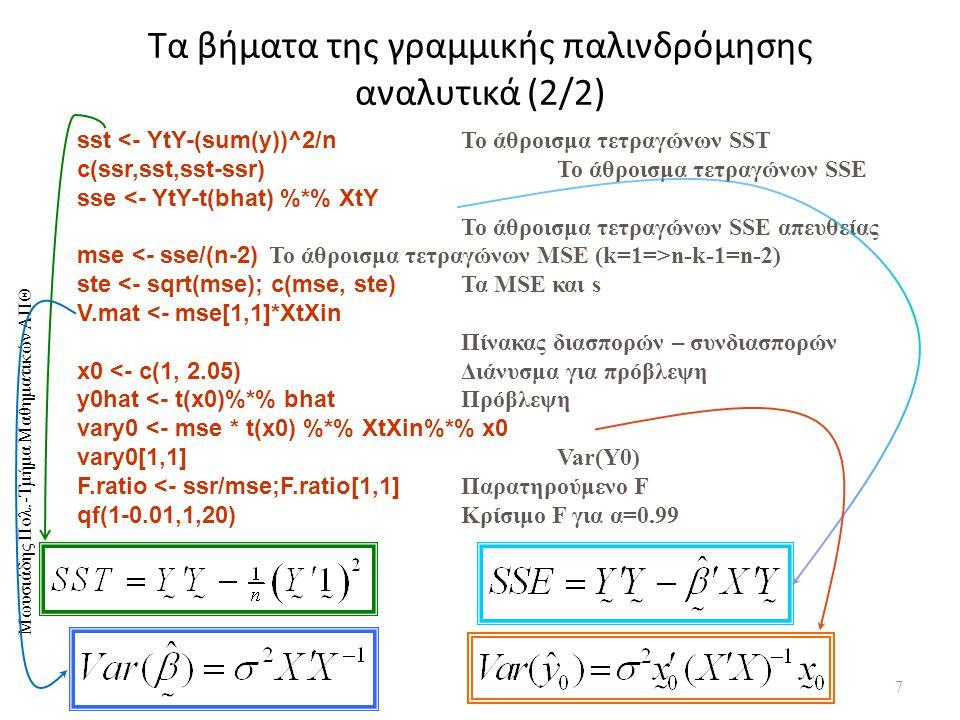 Τα βήματα της γραμμικής παλινδρόμησης αναλυτικά (2/2)