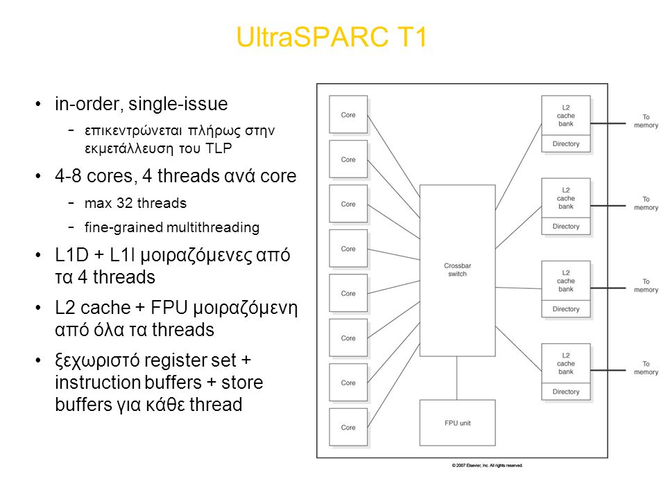 UltraSPARC T1 in-order, single-issue 4-8 cores, 4 threads ανά core